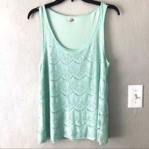 Fossil Lace Overlay Tank Top Women's Sz M